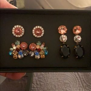 J Crew bold gem earrings box set - 3 pair!  NWT